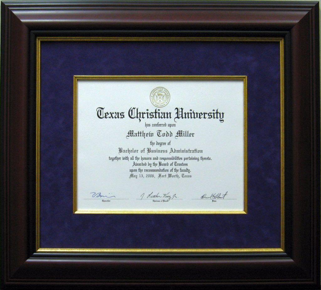 Diploma Gallery | CSD Custom Framing